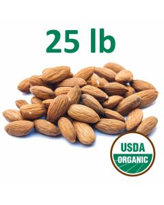 Organic Unpasteurized Almonds - 25 Pounds - Fast Shipping